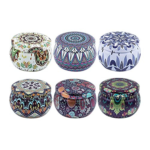 Sonline 6PCS Candle Tin Jars, DIY Candle Making Kit Holder Storage Case for Dry Storage Spices, Camping, Party Favor