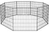 BestPet 24 Tall Foldable Dog Playpen Crate Fence Pet Kennel Play Pen Exercise Cage 8 Panel Black