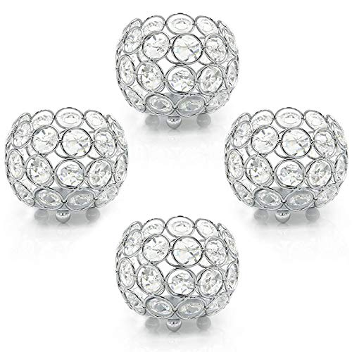 SNOWINSPRING Crystal Votive Candle Holder,Tealight Candle Holders,Candle Lantern for Home,Table Centerpiece Decor(4Pcs Silver)