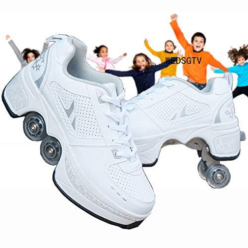 WEDSGTV Rollschuhe Madchen Verstellbar Schlittschuhe Riemenscheiben Schuhe Multifunktionale Verformung Quadlaufen Für Erwachsene Kind,White-36