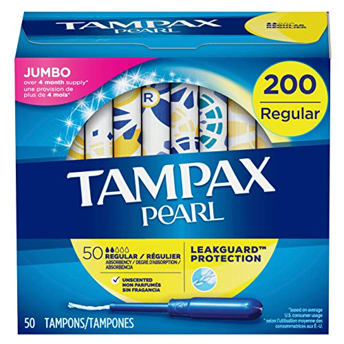 Tampax Pearl Tampons with Plastic Applicator, Regular Absorbency, 200 Count, Unscented (50 Count,...