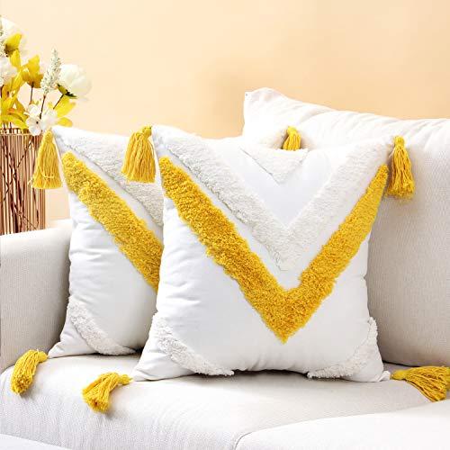SUNBEAUTY Fundas Cojines Boho 45x45 Algodon Amarillo Funda Cojin Borlas Decorativo Cuadrada 2pcs Cushion Covers para Sala de Estar Dormitorio Sofá Cama Silla Coche
