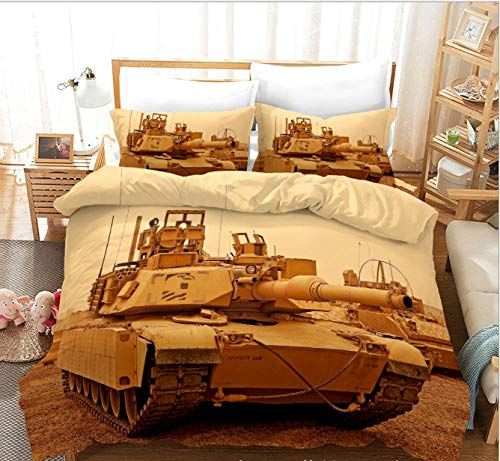 GSYHZL duvet cover king size,3d printing tank pattern king bed bedding set, boys' bedroom duvet cover and pillowcase-B_228*228cm(3pcs)