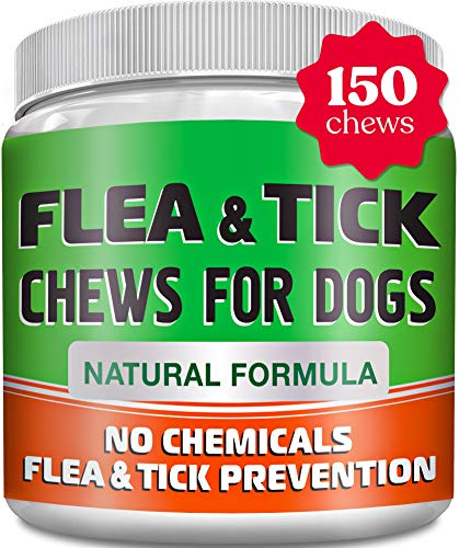 Chewable Flea and Tick Treats for Dogs - Made in USA - Natural Flea and Tick Solution - Bacon Flavor