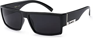 Locs Mens Flat Top Gangster Sunglasses Black Silver Frame 91026 (Black), 5.5w x 1.75h