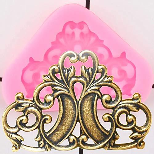 GEYKY Barock Relief Grenze Silikonformen Cupcake Topper Kuchen Dekorationswerkzeuge Candy Polymer Clay Schokoladen...