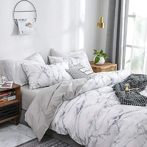 Luofanfei Baumwolle Bettwäsche 200x220 cm Weiß Bettbezüge mit Mamor Muster, 3-Teilig Super Weiche Atmungsaktive Baumwollbettwäsche mit Reißverschluss und 2 Kissenbezüge 80x80cm (DLS-AB,)