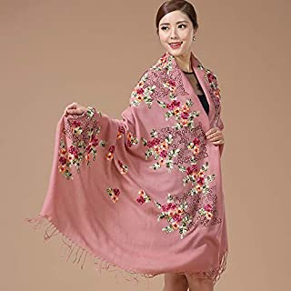Winter Long Scarf Oversized Cloak Shawl Autumn and Winter Cloak Embroidered Flower Long Chinese Style Dual-use Scarf Ladies (Color : Black) Winter Soft Scarf (Color : Pink)