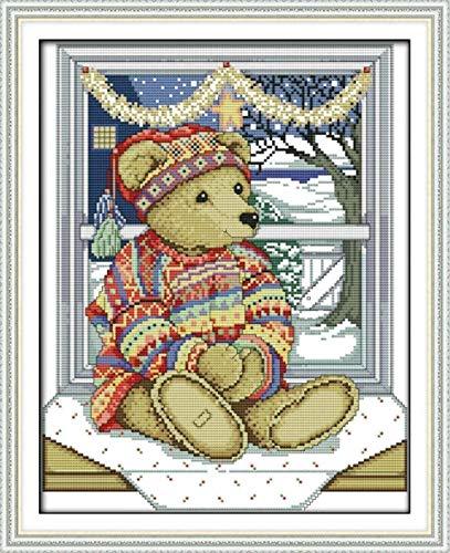 LEOGOR Kit de bordado de punto de cruz de 11 ct preimpreso, patrones de punto de cruz para principiantes, niños o adultos, kit de bordado de punto de cruz, 40,6 x 50,8 cm