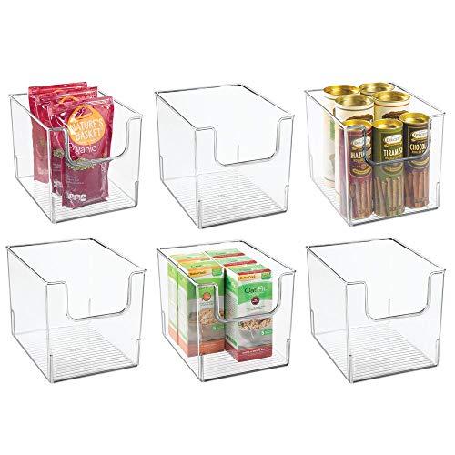 mDesign Contenedor de almacenamiento de alimentos con parte frontal abierta para gabinete de cocina, despensa, estante, nevera o...