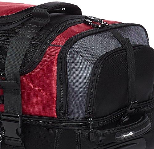 Amazon Basics - Borsone da viaggio con ruote, in Ripstop, 76 cm, 87 litri, Rosso