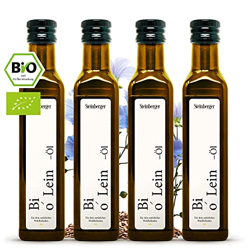 bio Leinöl kaltgepresst 100{a91fd357e8fc8c91ae51012a8e3918cb13dc34e0c8b373fd95166f19be2dbd52} rein | Geschmacksneutrales Leinöl aus nachhaltigem Anbau | 4x 250 ml Glasflasche mit Dosierer (4x250ml)