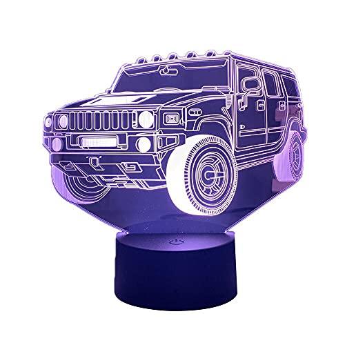 3D ilusión noche lámpara coche SUV LED táctil sensor colorido noche para la decoración de la habitación vehículo gota envío acrílico llevó la luz de la noche