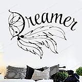 wZUN Palabras de soñador Pared calcomanía Dormitorio Vinilo Pegatina decoración del hogar extraíble Arte de Pared Mural 63X45cm
