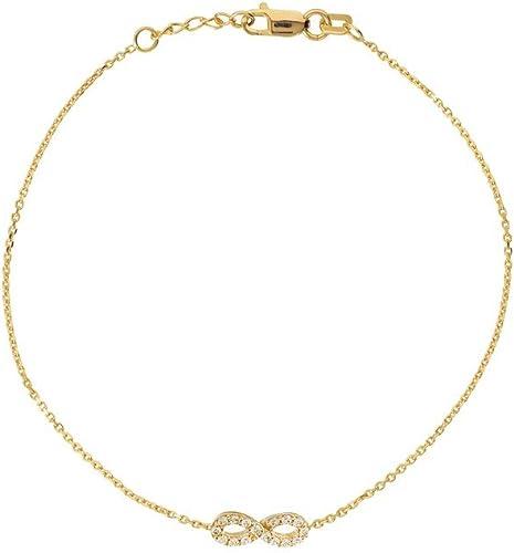 tienda de venta Pulsera de infinito de oro amarillo de 14 quilates, quilates, quilates, ajustable, con circonita cúbica  garantizado