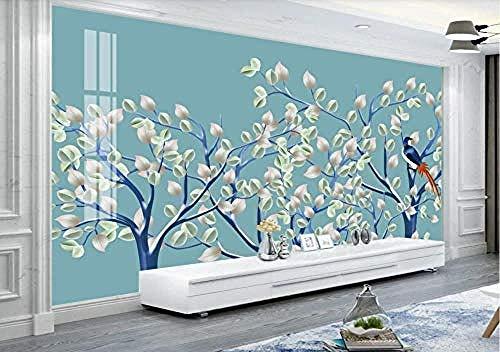 Fotobehang 3D blauw Magnolia Chinese stijl, handbeschilderd, bloemen en vogels, modern, personaliseerbaar, fotobehang, wandbehang, 250 cm x 175 cm