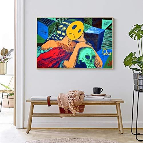 YuanMinglu Street Art Cartoon Mädchen Graffiti Bild für Wohnzimmer Moderne Dekoration Malerei abstrakte Leinwand Wandkunst rahmenlose Malerei 60X90cm