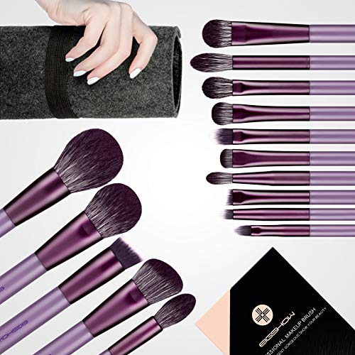 Make-up-Pinsel-Set, 15-teilig, vegan, handgefertigtes Qualitäts-Make-up-Pinsel-Set enthält 7 Vital-Lidschatten-Pinsel-Sets, Pinsel für Puder, Rouge, Foundation, Falte, Highlight, Violett