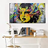 Graffiti Pop Art Watercolor Girl Face Abstract Oil Painting on Canvas Poster Print Wall Picture for Sofa Decor 60x100CM