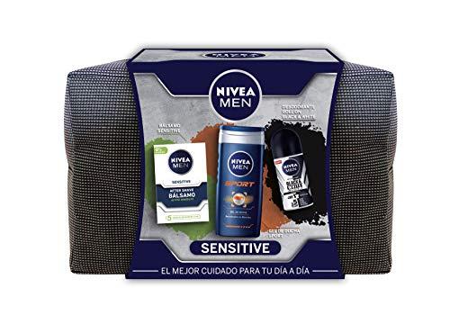 NIVEA MEN Sensitive Neceser, set de baño con desodorante roll on invisible (1 x 50 ml), gel de ducha (1 x 250 ml) y bálsamo aftershave (1 x 100 ml), set para hombre