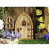 Landhaus Feen Tür,Miniatur Fee Elf Haustür und Fenster, Puppenhaus Miniatur Dekoration, niedlichen Baum Dekor Kunst Dekorationen