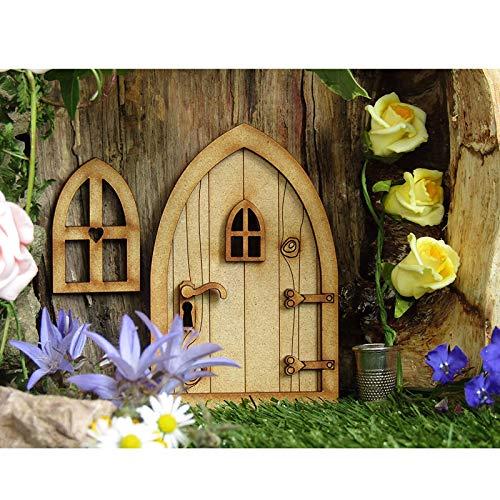 Landhaus Feen Tür,Miniatur Fee Elf Haustür und Fenster, Puppenhaus Miniatur Dekoration, niedlichen Baum Deko (A)