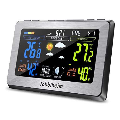 Tobbiheim Funk Wetterstation, Funkwetterstation Vollfarbanzeige Thermometer und Hygrometer für Innen und Außen Temperatur, Luftfeuchtigkeit, Mond Phase, Wecker & USB Ladebuchse für Handy - Silber