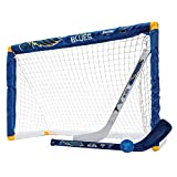 Franklin Sports Louis Blues Mini Hockey Set - Knee Hockey Goal, Ball, & 2 Hockey Stick Combo Set - Mini Goal Net - NHL Official Hockey Set , St. Louis Blues , 28' x 20' x 12'