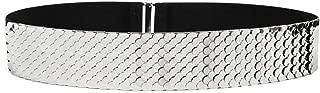 Womens Metal Mirror Elastic Stretch Silver Waist Belt Metallic Waistband Plate Wide Belts