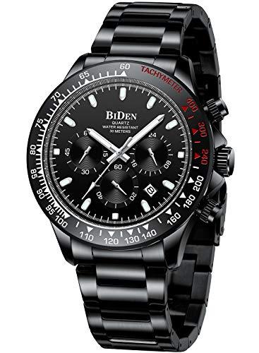 Relojes Hombre Relojes Grandes de Pulsera Cronografo Diseñador Luminosos Impermeable Reloj Hombre Deportivos de Acero Inoxidable Analogicos Fecha Negro