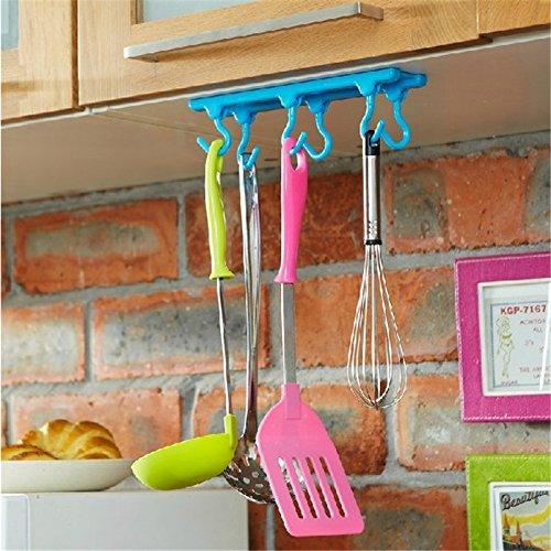Desconocido Generic Blanco gabinetes Gancho Armario de Cocina Cuarto de baño armarios Instalado Candy Color plástico Sticky Adhesivo Colgador con 6Ganchos