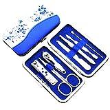 Xiaoli Kit de manicura y pedicura 7 unids Kit de Cortes de uñas Personal de Acero Inoxidable con Estuche de Porcelana pedicura/manicura Conjunto de Clavos cortadoras Kit de cutícula Set Manicura