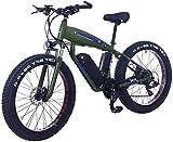 Bicicleta eléctrica Fat Tire de 26 Pulgadas 48V 15Ah Snow E-Bike 21/24/27/30 Velocidades Beach Cruiser Bicicletas eléctricas de montaña para Hombres y Mujeres con Freno de Disco (Color: 15ah