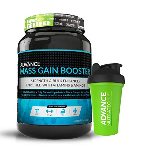 Advance Nutratech Mass Gain Booster -1Kg (Chocolate Flavoured) | 2.2 Lbs | Free Shaker | | Lean Muscle | Rebuild | Recovery | High Calorie | Zero Gluten | Added Creatine | Dairy Free | Men & Women