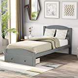 Platform Twin Bed Frame with Storage Drawer and Wood Slat Support No Box Spring Needed