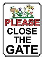 ゲートを閉じてください 金属板ブリキ看板警告サイン注意サイン表示パネル情報サイン金属安全サイン