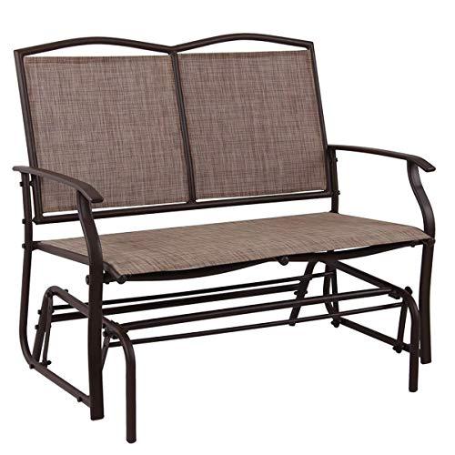 PHI VILLA Doppel Schwingstuhl mit Armlehnen Schaukelstuhl Outdoor Gartenmöbel verstellbar Drehstuhl Textilene Masche und Stahlrahmen mit Schwingfunktion für Lounge Garten bis 250kg