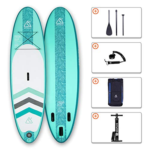 SEAPLUS Tabla de Paddle Surf Hinchable Sup Inflatable Stand up Paddle Board CL- G 10#6#*32#*6# con Inflador/Remo de Aluminio/Mochila/Leash/Fin,  Carga hasta 130 Kg