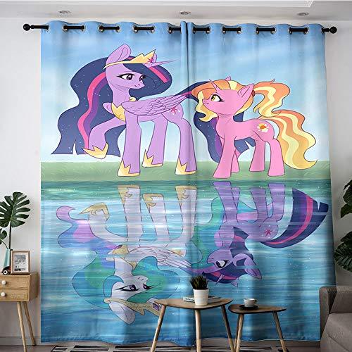Sdustin Cortinas de reflexión de agua de Comic My Little Pony para dormitorio de 106 x 160 cm, cortinas de reducción de ruido (tela de poliéster)