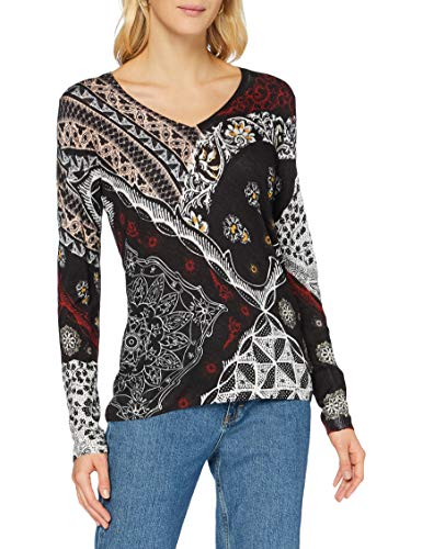 Desigual Jers_Bergen suéter, Black, S para Mujer