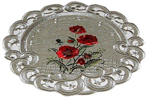 Espamira Tischdecke Antikgrün Mohn Rot Gestickt Tischdekoration Decke Sommer Herbst (Deckchen rund 30 cm)