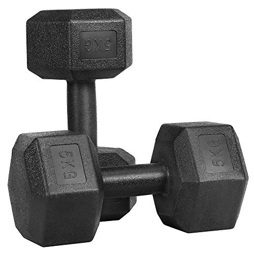 Yaheetech 2 Stück Hantel Set 5Kg Kurzhanteln Gummi Gusseisen Hexagon Hanteln Gewichte Training für Aerobic, Gymnastik und Fitness