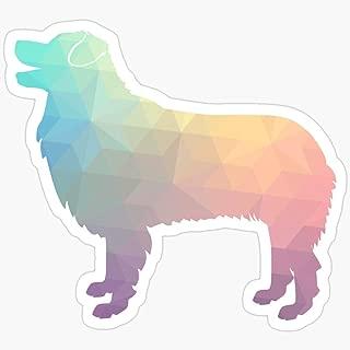 WillettaStore Australian Shepherd Dog Breed Geometric Silhouette Pastel Stickers (3 Pcs/Pack)
