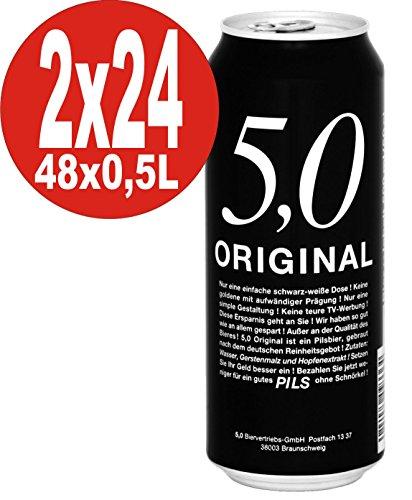 5.0 Original Pils 2 x 24x0,5L Dosen 5% Vol Günstiges Dosenbier EINWEG