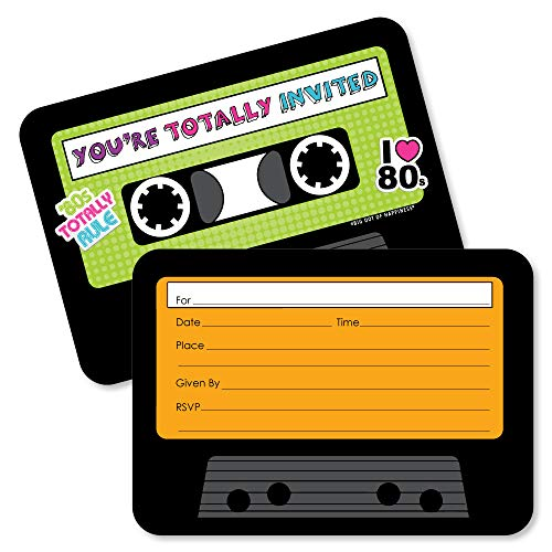 80s Party Invitation Cassette Cards (Set of 12)