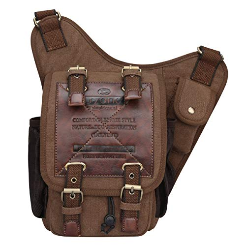 Material: Tight-woven layered canvas fabric, PU leather, thick brass buckles and accessories, durable polyester shoulder strape Convenient: The buckles on the top flap is magnetic snap, easily open and close the bag and keep everything very secure, t...