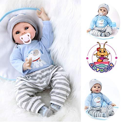 Antboat 55cm Muñecas bebé Reborn Encantador recién Nacido niño pequeño Hecho a Mano Suave Tela de Silicona Cuerpo Ojos Abiertos en Azul Cachorro Conjunto