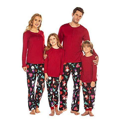 HXXXIN Weihnachten Familie Eltern-Kind Tragen Langärmelige Pyjamas Set Baumwolle Weiche Und Bequeme Pyjamas Gedruckt Home Service Pyjamas Set,Mother XL