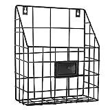 Amasawa Retro Revistero de Hierro Estante Pared de Hierro Cesta Estantería para Oficina Sala de Estar Dormitorio Cuarto de Baño (Negro)