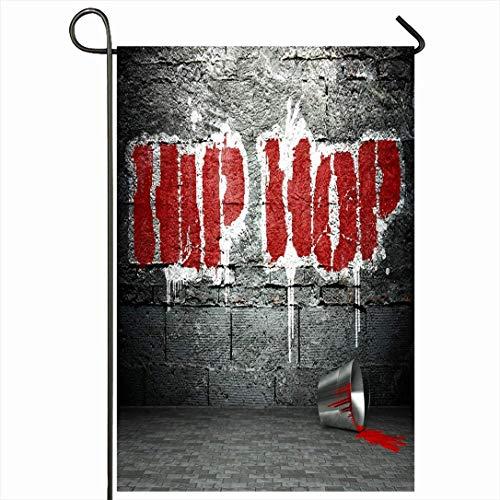 Outdoor Garden Flag 12,5 'x 18' Zoll Vorort Musik Dirty Graffiti Wall Coole Hip Hop Street Grunge Parks Rap Wort Urban Ghetto Funky Night Saisonale Wohnkultur Willkommen Haus Hof Banner Sign Flags